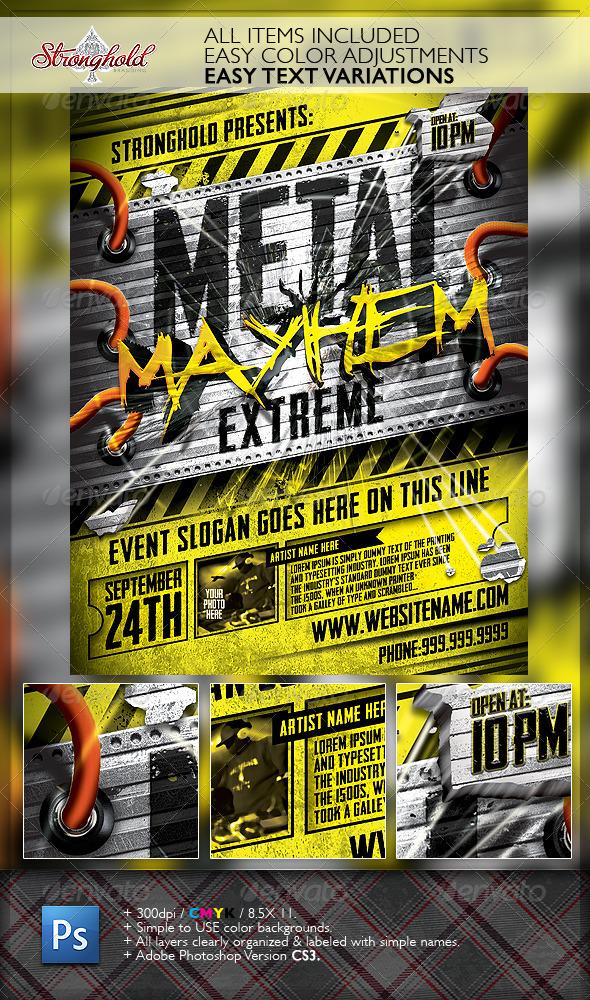 Metal Mayhem Extreme Flyer Template - Events Flyers