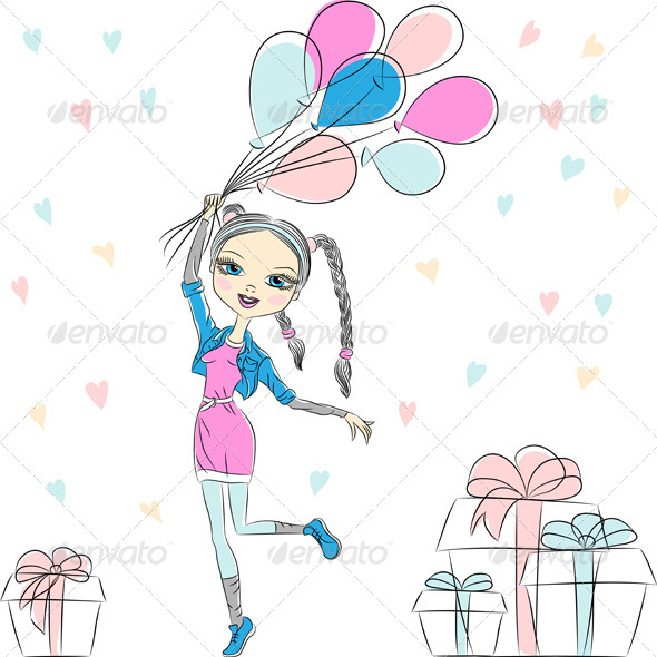 Girl with Multi-Colored Balloons - People Characters