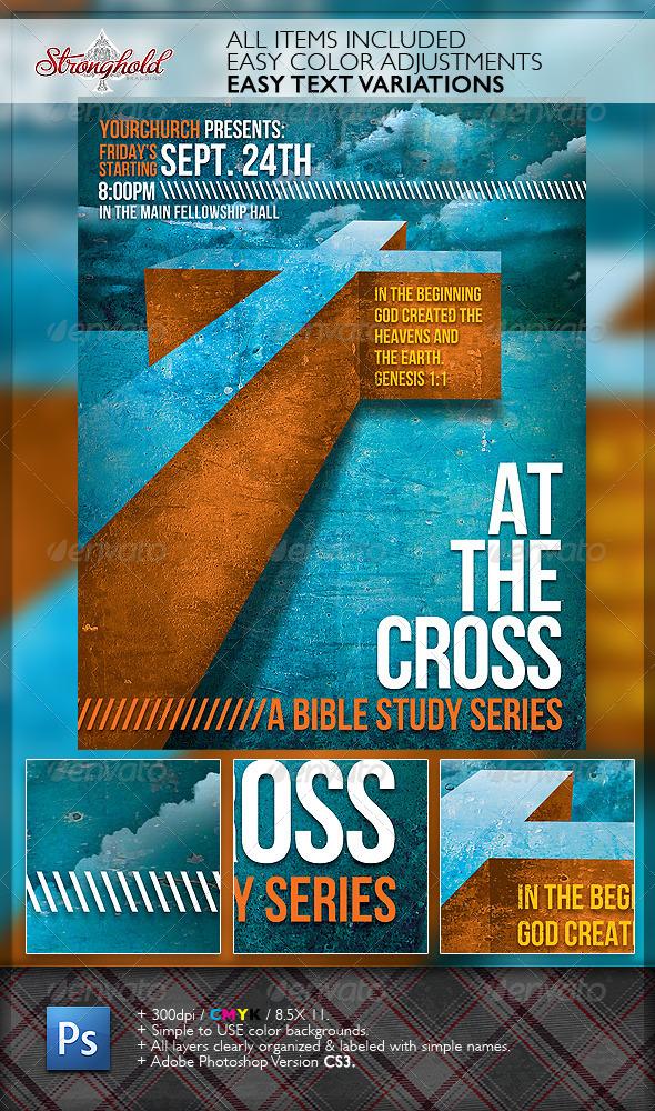 At The Cross Bible Study Church Flyer Template - Church Flyers