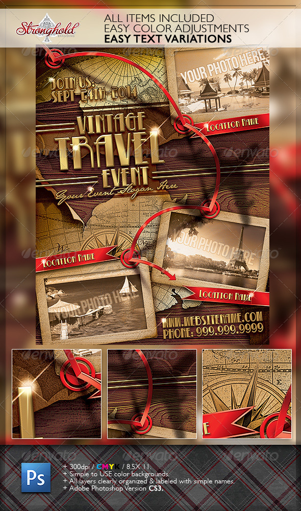 Vintage Travel Flyer Template By Getstronghold  Graphicriver