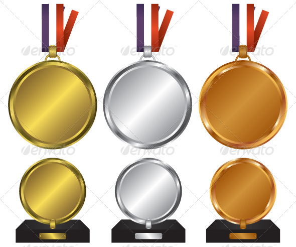 Three Medals for the Winners - Objects Vectors