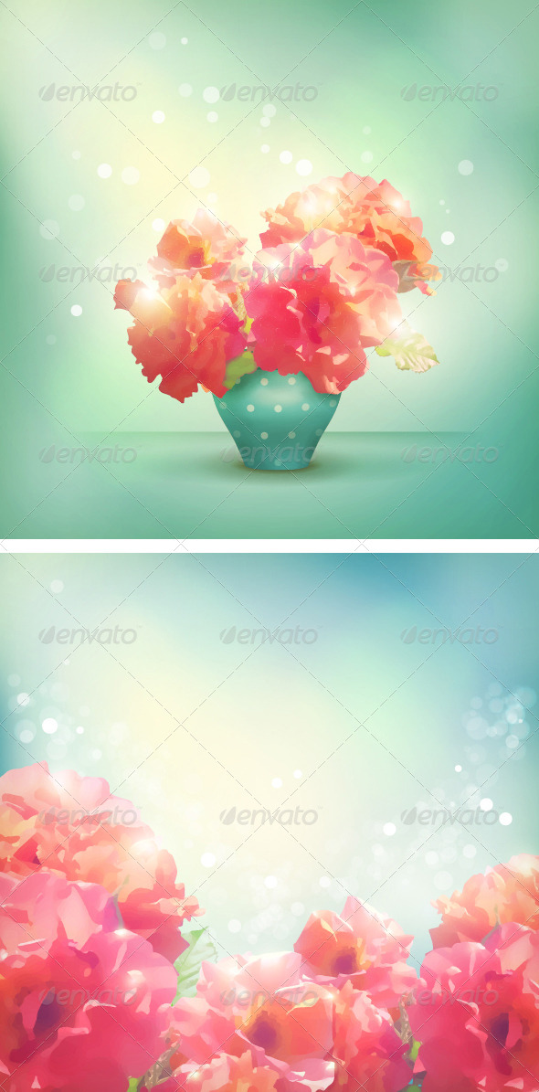 Romantic vector floral background - Flowers & Plants Nature