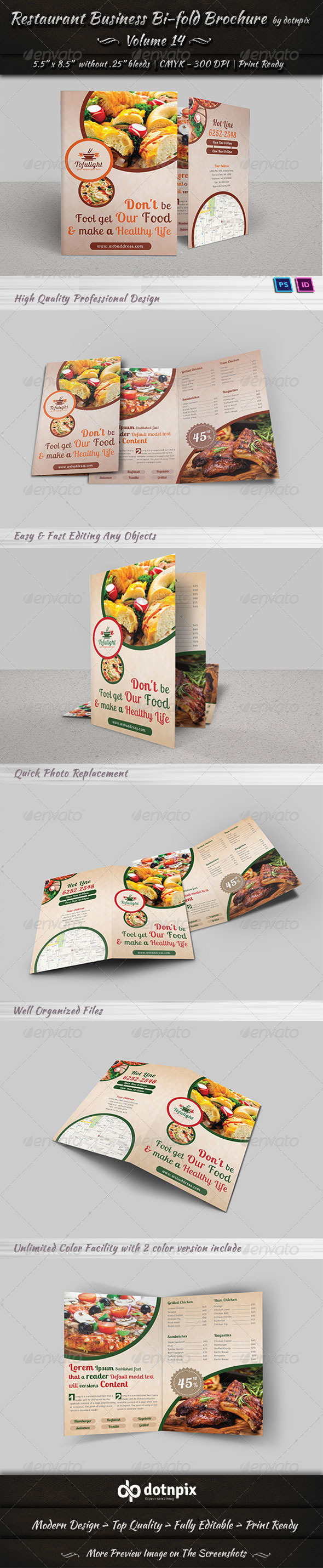 Restaurant Business Bi-Fold Brochure | Volume 14 - Brochures Print Templates