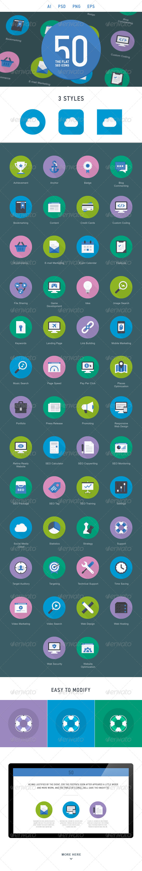 The Flat SEO Icons 50 - Web Icons