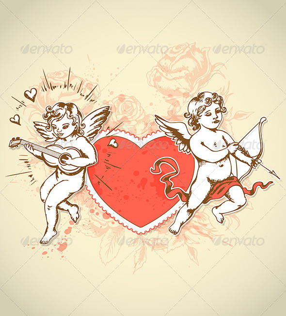 Valentine Card with Cupids - Valentines Seasons/Holidays