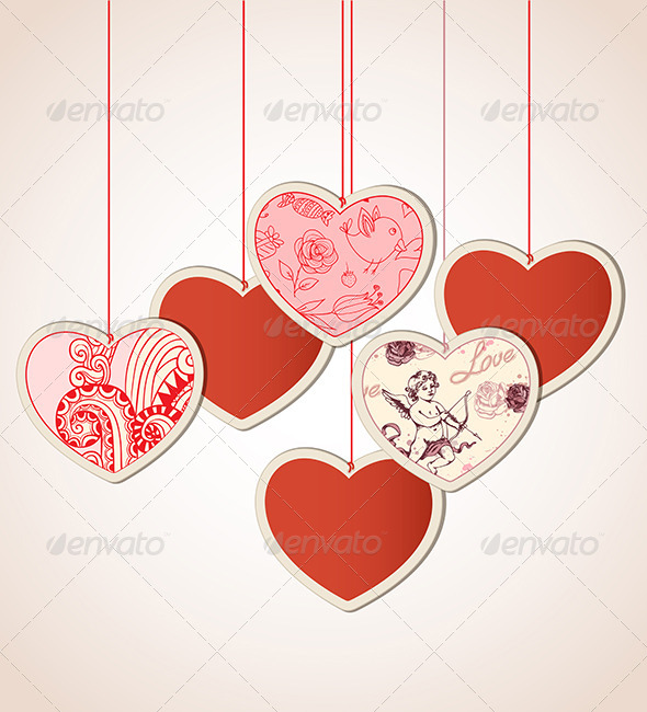 Decorative Background with Hearts - Valentines Seasons/Holidays