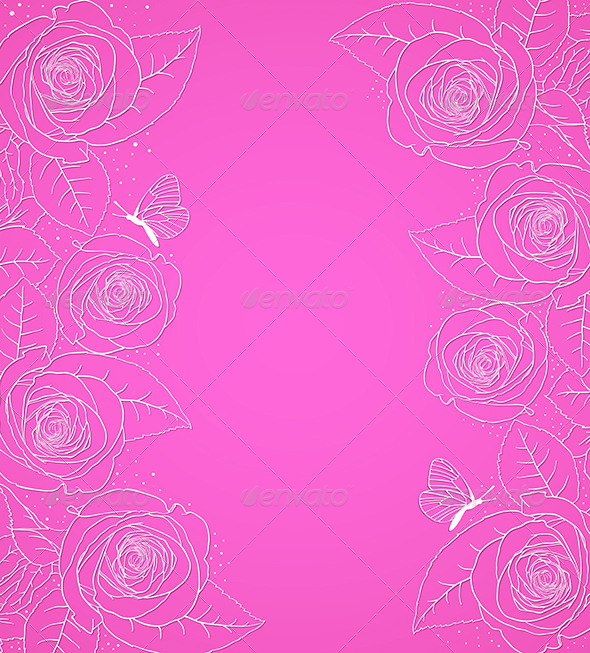 Pink  Background with Roses - Backgrounds Decorative
