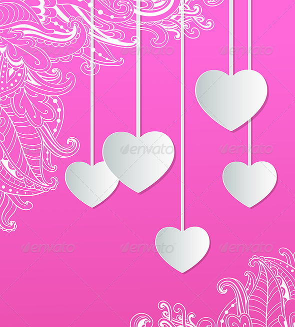 Pink Background with Paper Hearts  - Valentines Seasons/Holidays