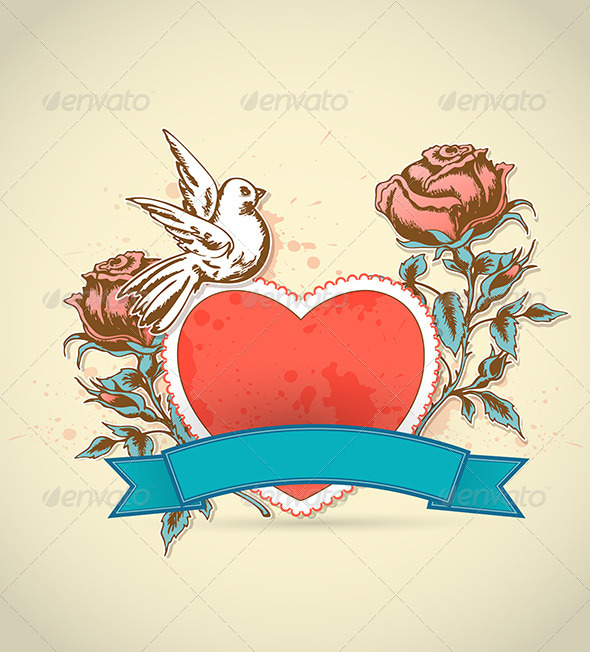 Red Heart, Roses and Dove - Valentines Seasons/Holidays