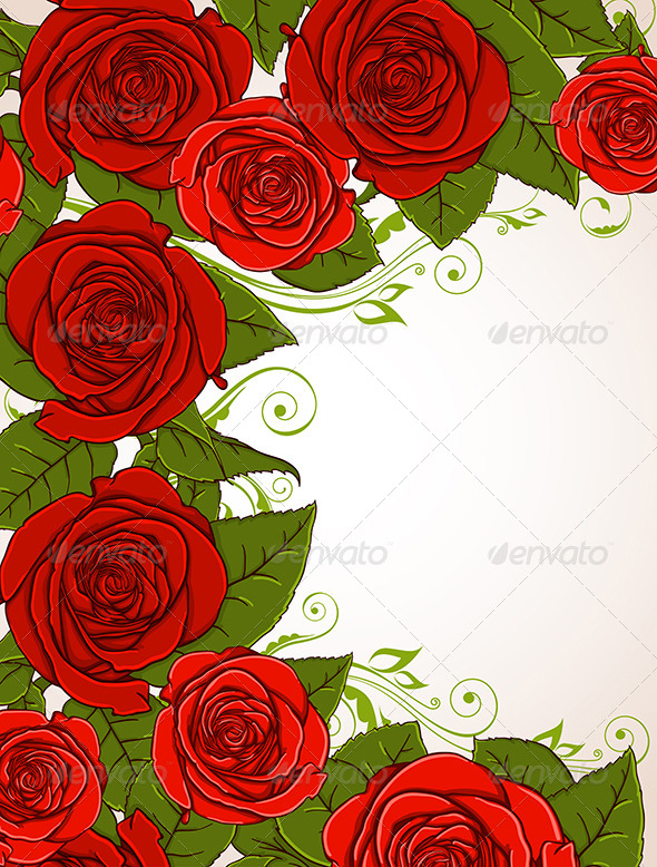 Background with Red Roses - Flowers & Plants Nature