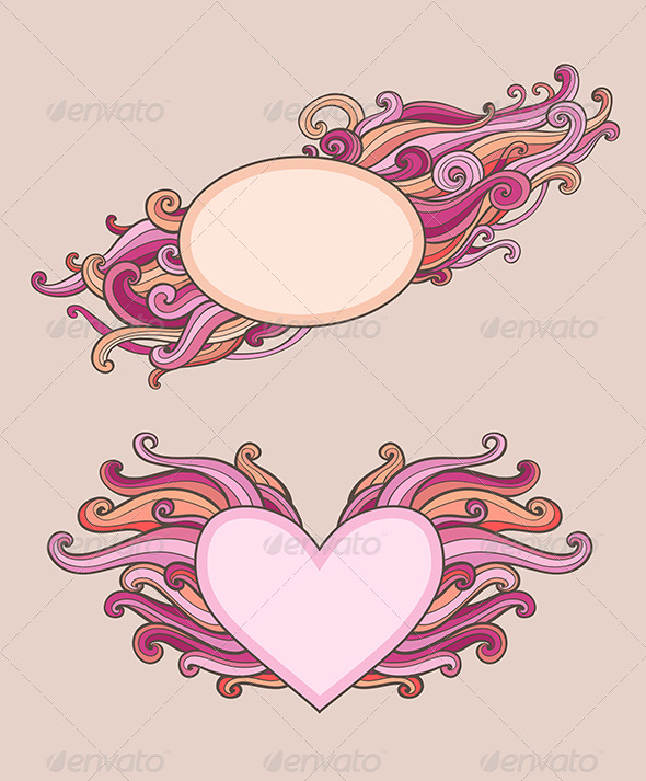 Vintage  Banners for Valentine's Day - Decorative Symbols Decorative