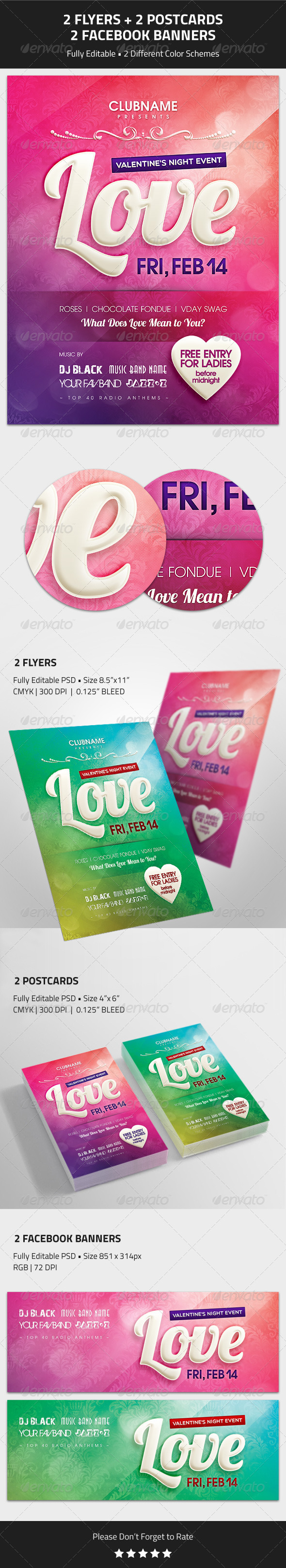 Valentine's Day Event Flyer, Postcard, Banner - Events Flyers