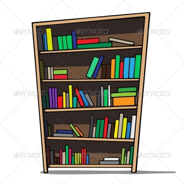 Cartoon Bookshelf - Man-made Objects Objects