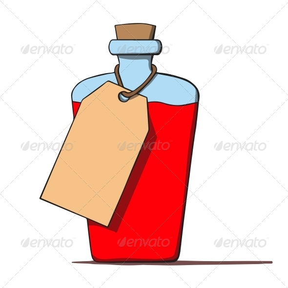 Cartoon Bottle with a Tag - Man-made Objects Objects