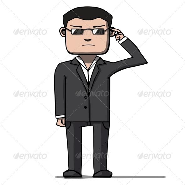 Cartoon Security Bodyguard  - People Characters