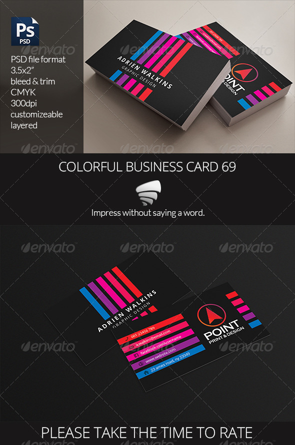 Colorful Business Card 69 - Business Cards Print Templates