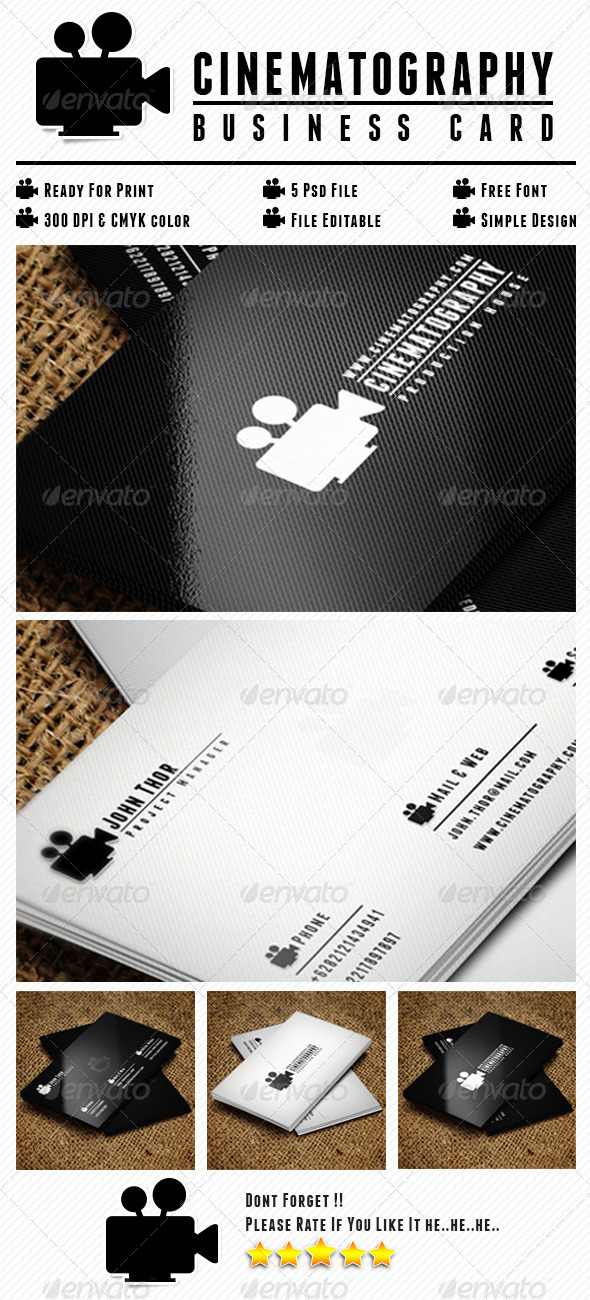 Cinematography Card - Business Cards Print Templates