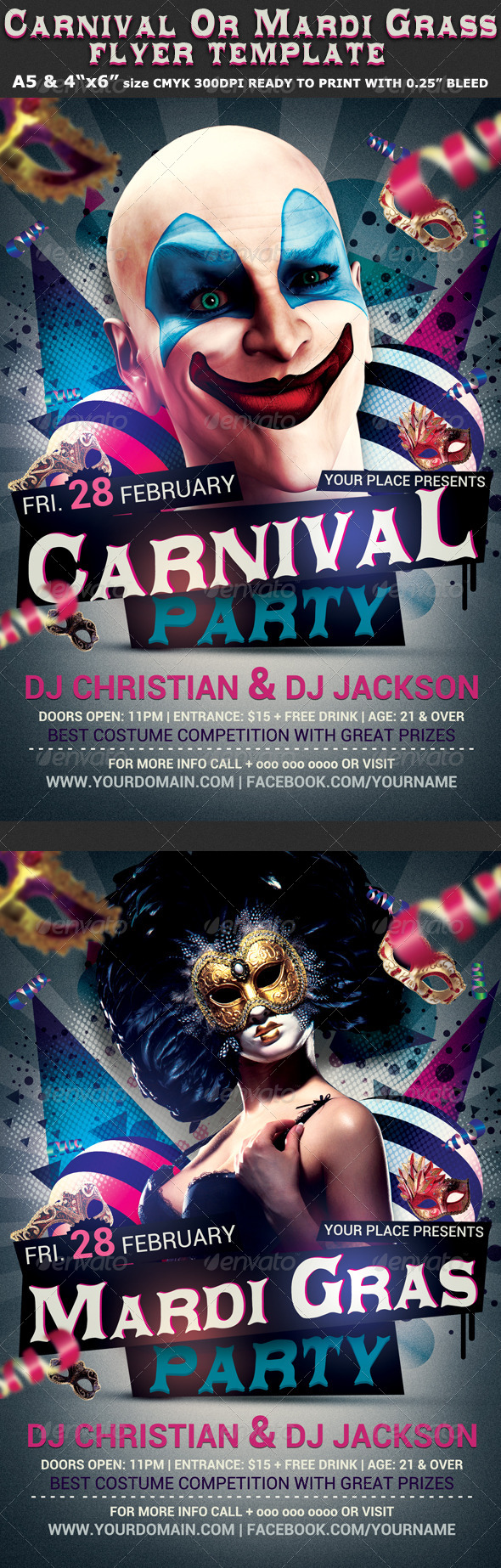 Carnival n Mardi Grass Party Flyer - Clubs & Parties Events