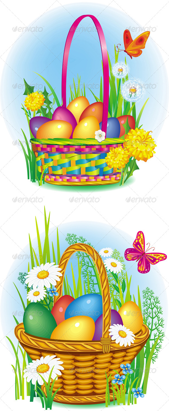 Colorful Easter Eggs in Wicker Basket - Miscellaneous Seasons/Holidays