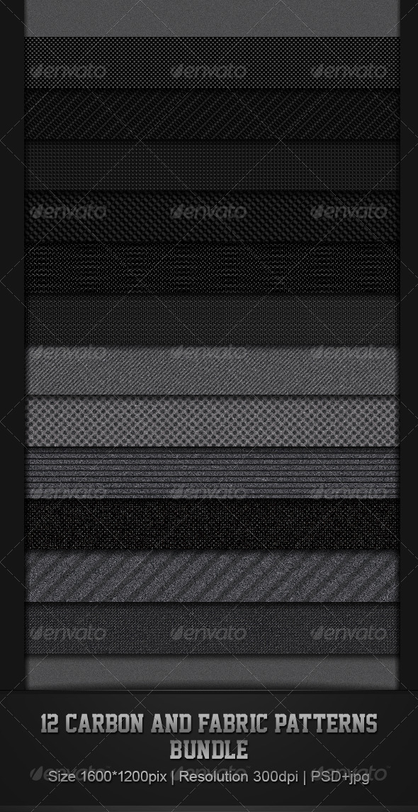 12 Fabric & Carbon Patterns Bundle - Patterns Backgrounds