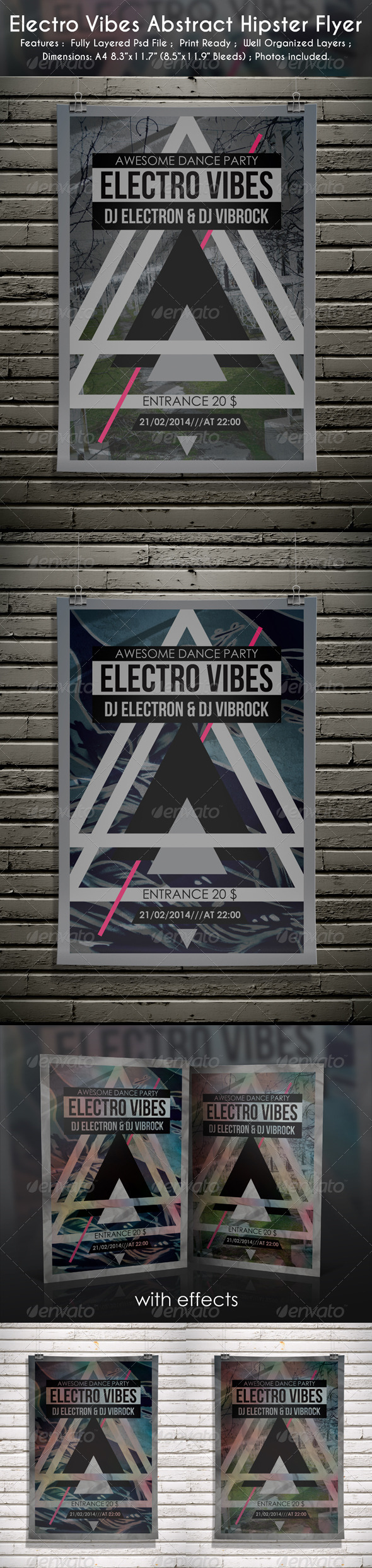 Electro Vibes Abstract Hipster Flyer  - Clubs & Parties Events