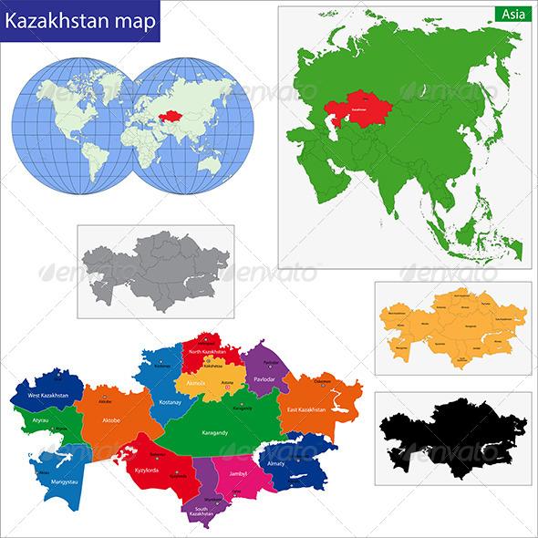 Kazakhstan Map - Travel Conceptual