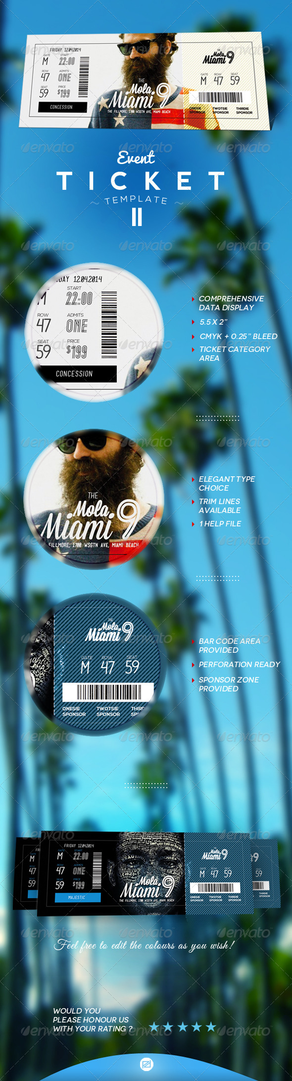 Event Tickets Template II - Miscellaneous Print Templates