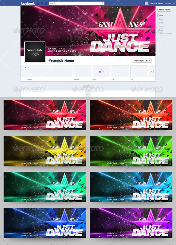 Just Dance FB Timeline Cover 9 in 1 - Facebook Timeline Covers Social Media