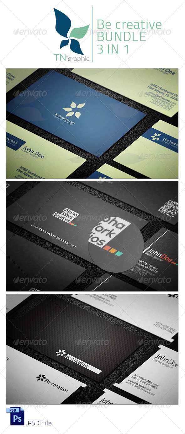 BeCreative 3 in 1 Bundle - Business Cards Print Templates