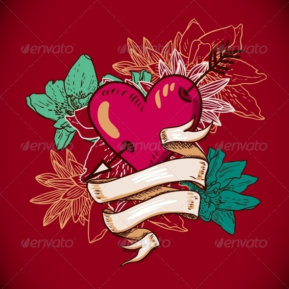 Hearts and Flowers Vector Illustration  - Patterns Decorative