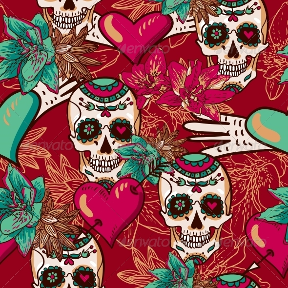 Skull, Hearts and Flowers Seamless Background - Patterns Decorative