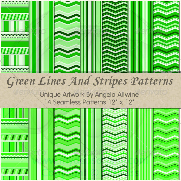 Green Lines And Stripes Pattern Set - Patterns Backgrounds
