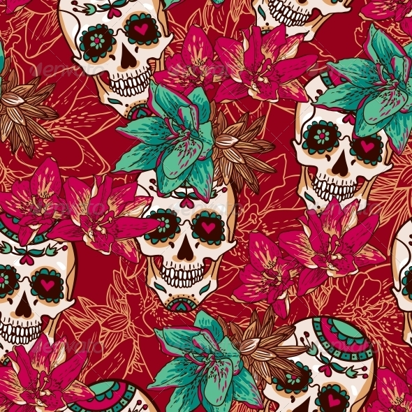 Skull, Hearts and Flowers Seamless Background by Depiano ...