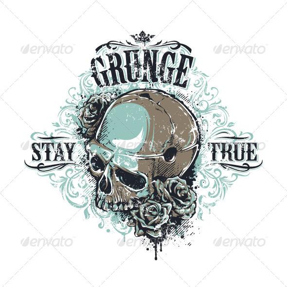 Grunge Skull Print - Vectors