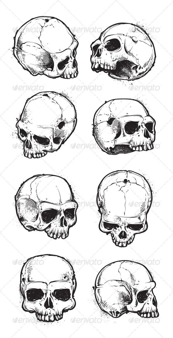 Hand Drawn Skulls Set - Vectors