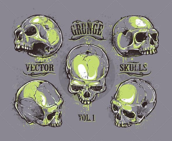 Grunge Skulls Set - Vectors