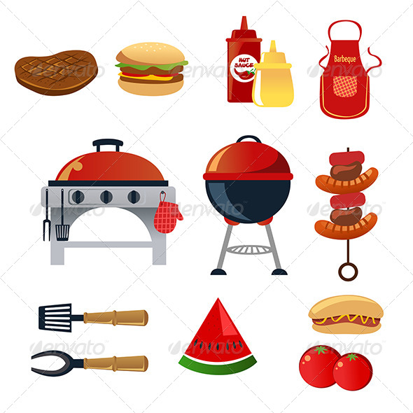 Barbeque Icons - Food Objects