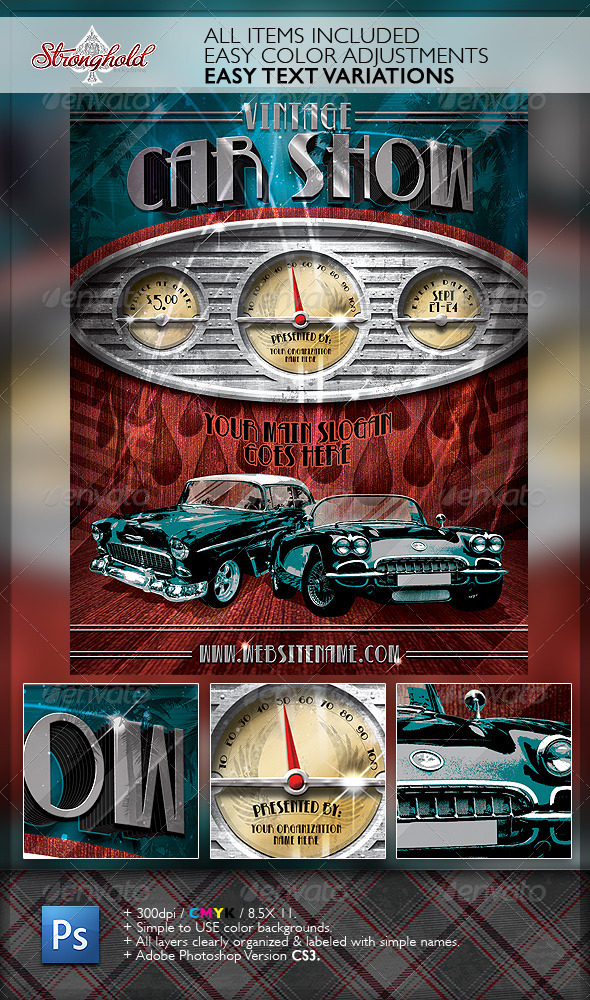 Vintage Car Show Dashboard Flyer Template By Getstronghold