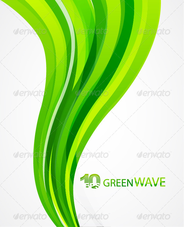 Vector green wave abstract background - Backgrounds Business