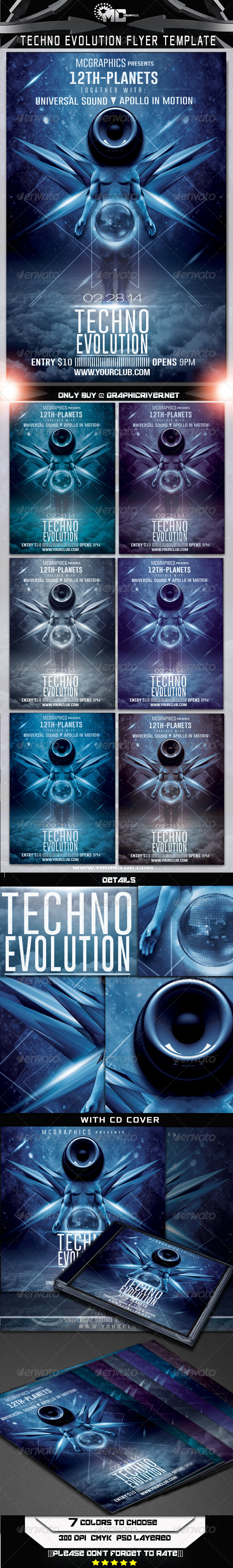 Techno Evolution Flyer Template - Flyers Print Templates