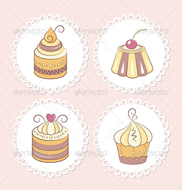Sweet Cupcakes Set - Food Objects