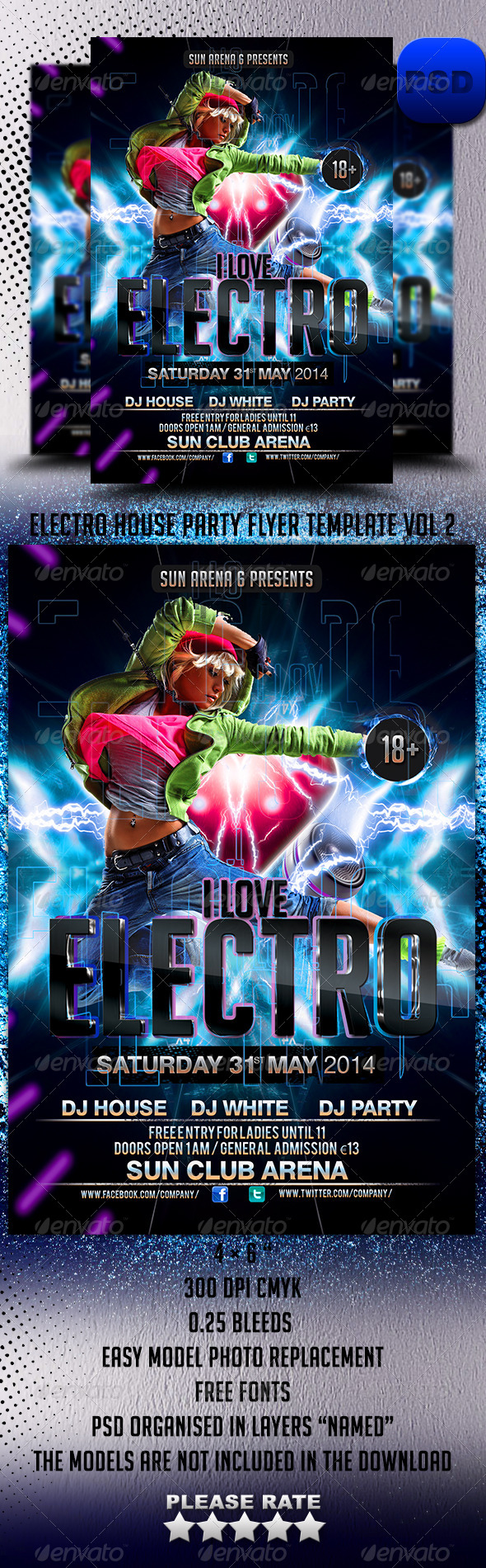 Electro House Party Flyer Template Vol 2 - Events Flyers