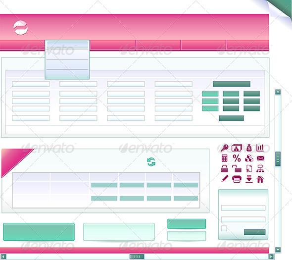 Set of Pieces for Bank Site - Web Elements Vectors