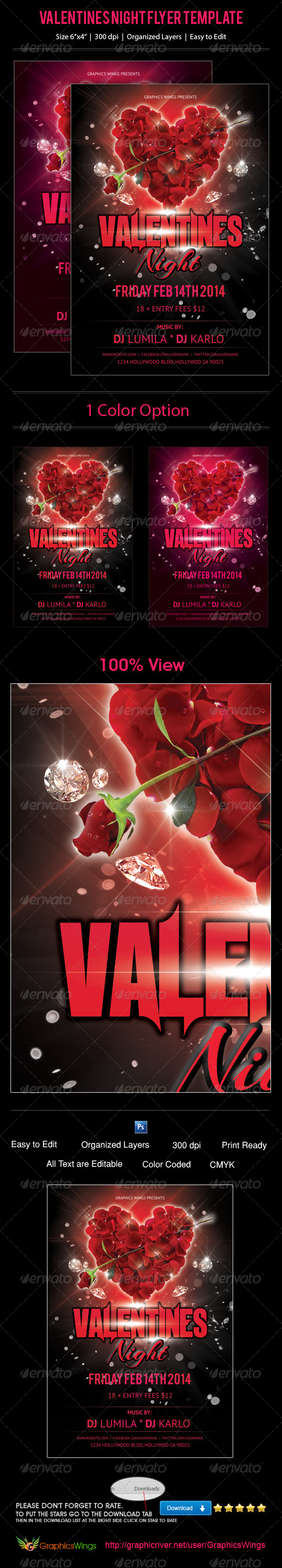 Valentines Night Flyer Template - Events Flyers