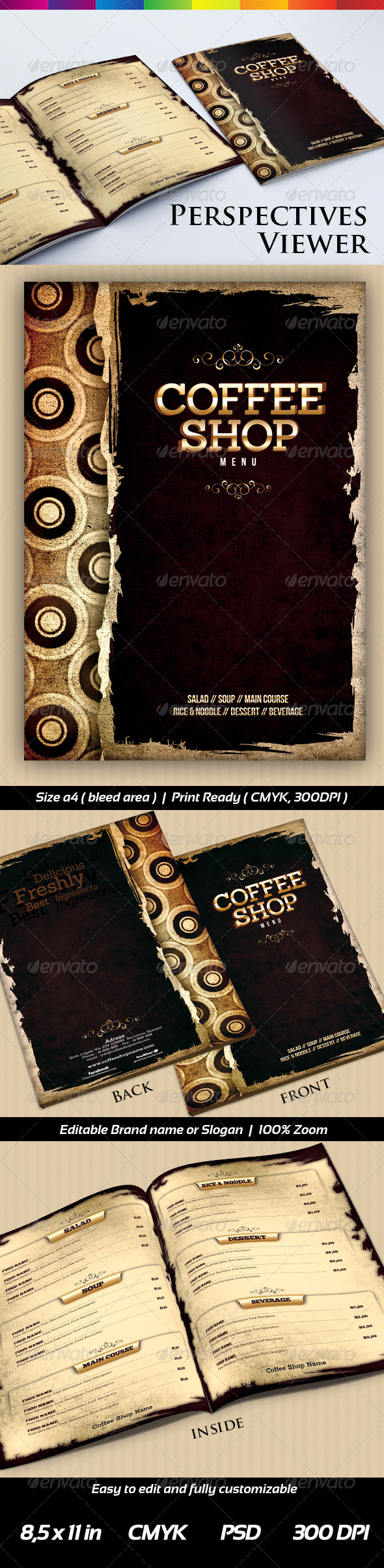 Coffee Shop Menu Templates  - Food Menus Print Templates