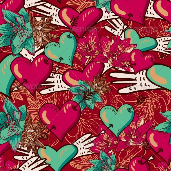 Hearts and Flowers Seamless Background - Patterns Decorative