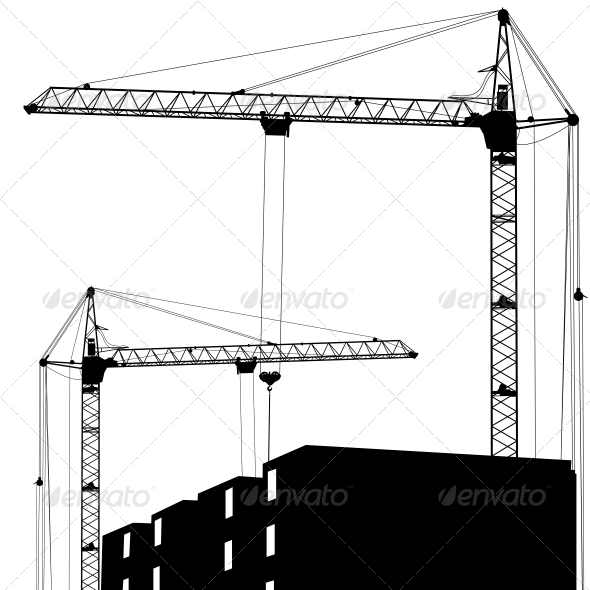 Silhouette of Two Cranes Working on the Building - Buildings Objects