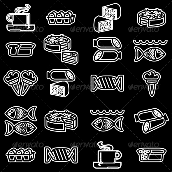 Food Silhouettes of Icons Set - Web Elements Vectors