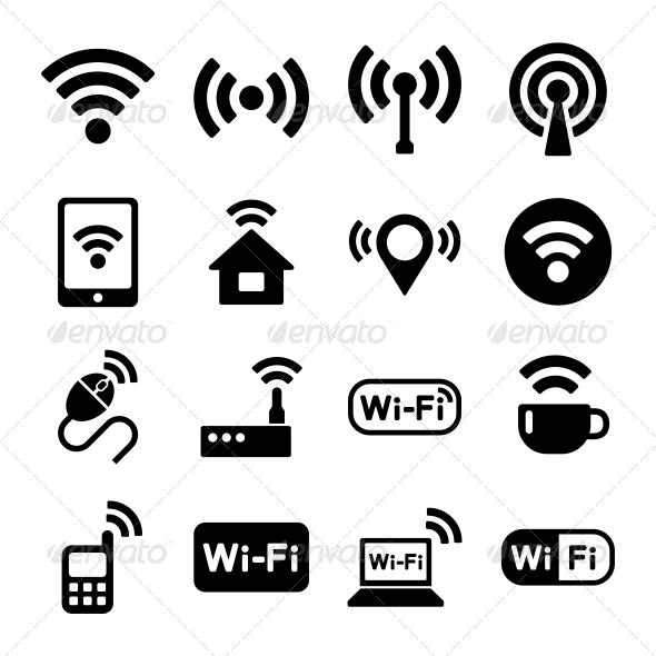 Wireless Technology, Wi-Fi Web Icons Set - Technology Icons