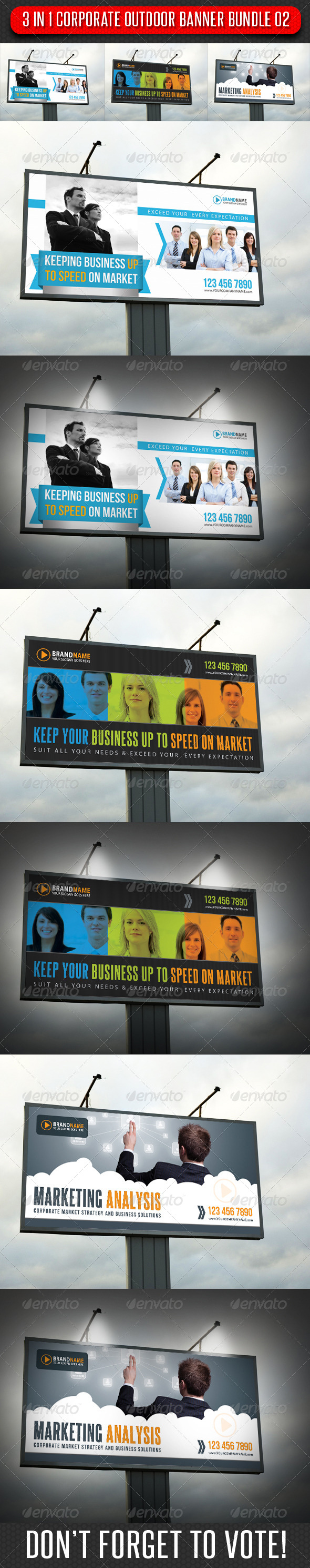 3 in 1 Corporate Outdoor Banner Bundle 02 - Signage Print Templates